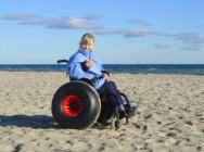 Xzavier Davis-Bilbo could go to the beach in this all terrain wheelchair